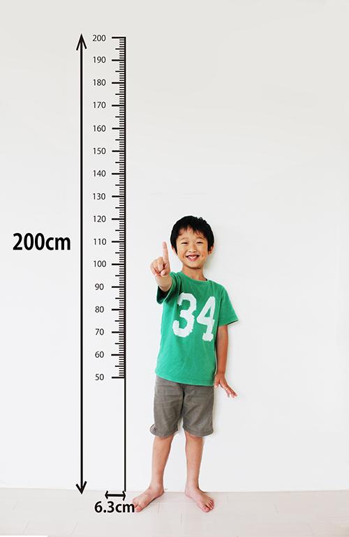 200cm対応で細くてシンプルだからお部屋のインテリアにもなじむ身長計ウォールステッカー