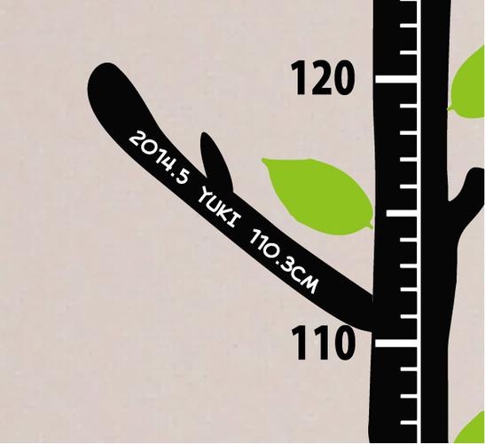 木の身長計ウォールステッカー用の成長記録できるオリジナルのメモブランチ