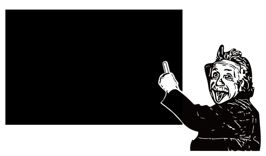 舌をだしたアインシュタインの顔がおしゃれな黒板ウォールステッカー