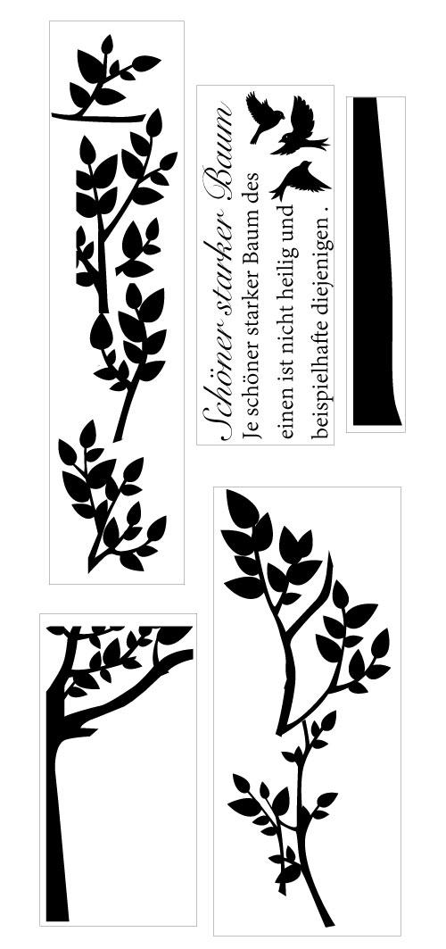 大きなツリーに小鳥がさえずり合う北欧風でおしゃれなフランス語ツリーバードステッカー
