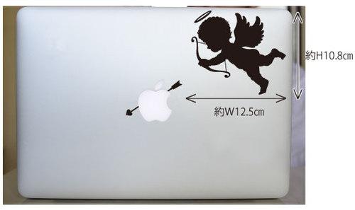 ハートの矢を射るかわいいMacbook用エンジェルステッカー