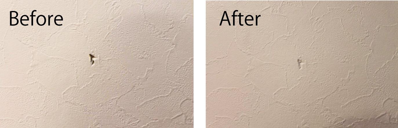 壁に空いた穴を隠すためにウォールステッカーで簡単に直しました