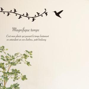 北欧風なお部屋にできる、木の葉と小鳥のデザインウォールステッカー