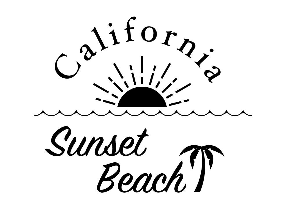 カリフォルニアのサンセットビーチデザインステッカー