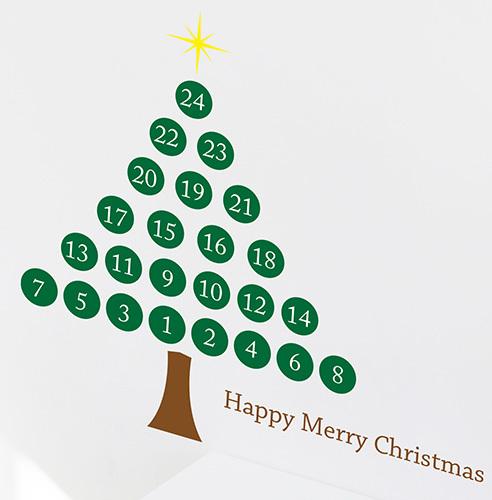 クリスマスまで1日1日カウントダウンできる、アドベントカレンダーのウォールステッカー