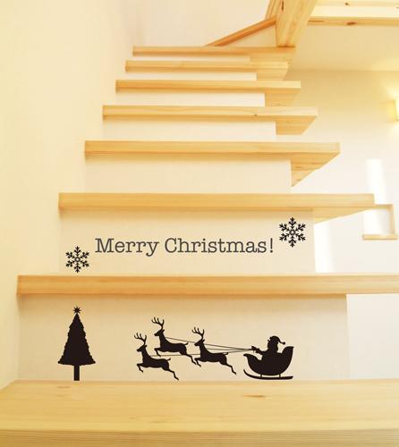 雪が降る聖夜にサンタがやってくる!メリークリスマス ウォールステッカー