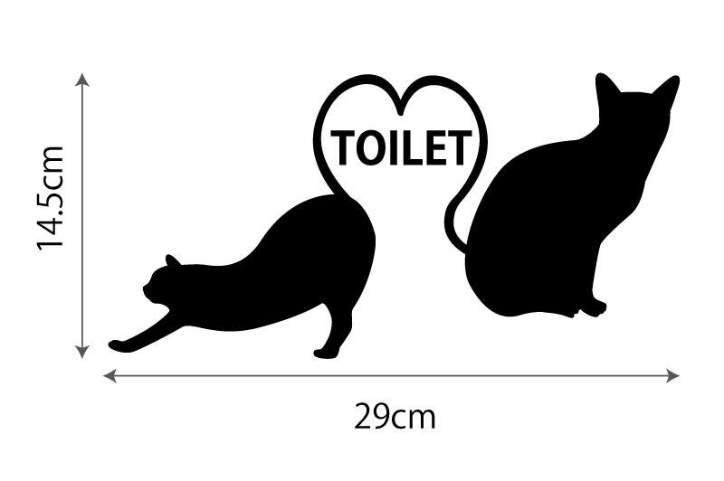 ハートと猫のトイレサイン